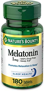 Melatonin by Nature's Bounty, 100% Drug Free Sleep Aid, Dietary Supplement, Promotes Relaxation and Sleep Health, 1mg, 180...