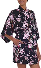 NOVICA Black and Pink Floral Rayon Robe, Spring Cherry Blossom'