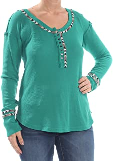We The Free Womens Juniors Contrast Trim Long Sleeves Thermal Top