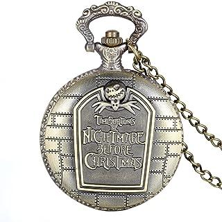Avaner Retro Bronze Engraved Tim Burton's Nightmare Before Christmas Arabic Numerals Quartz Pocket Watch Chain 31 inches for Women Men