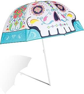 BigMouth Inc. Sugar Skull Colorful Beach Umbrella, Perfect for Summer Vacation or Rainy Days