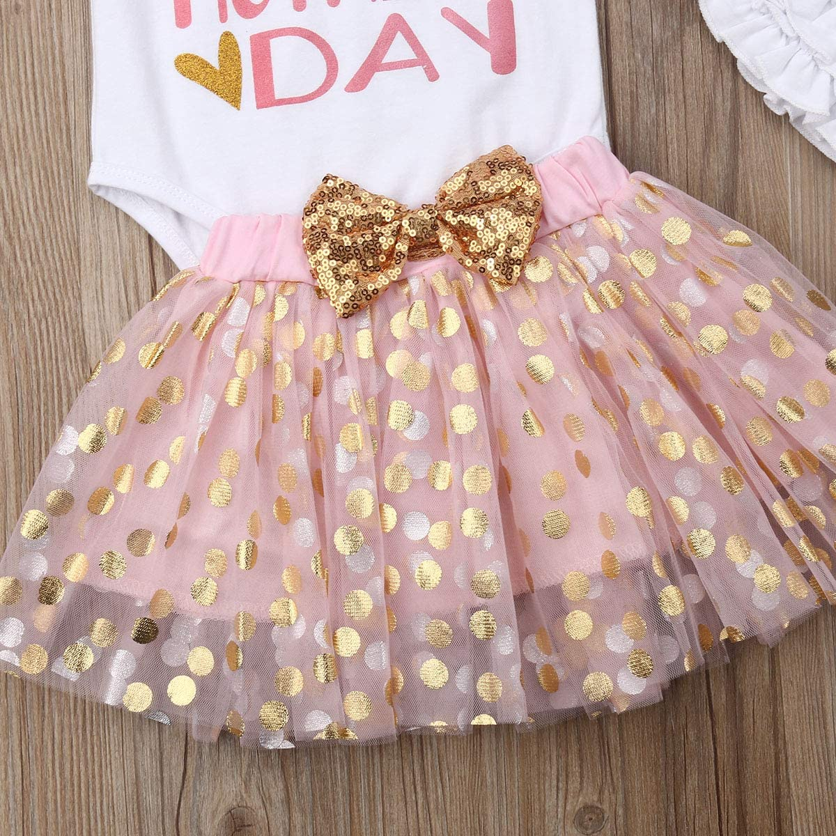 Newborn Baby Girls First Mothers Day Fathers Day Outfits Romper Tutu Skirt Headband Legging Outfits 4PCS Set
