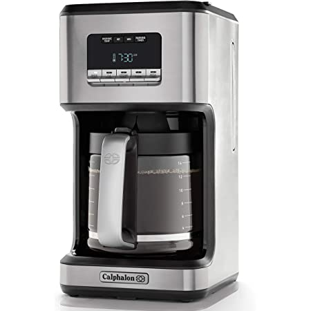 Calphalon 14-Cup Programmable Coffee Maker   Stainless Steel Drip Coffee Maker with Glass Carafe, High Performance Heating