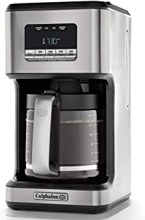 Calphalon 14-Cup Programmable Coffee Maker | Stainless Steel Drip Coffee Maker with Glass Carafe, High Performance Heating