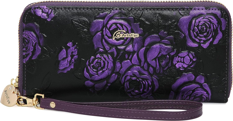 ArtsEye Rose Embossed Genuine 5 popular Cheap Leather Wallet Wristlet Around Zip