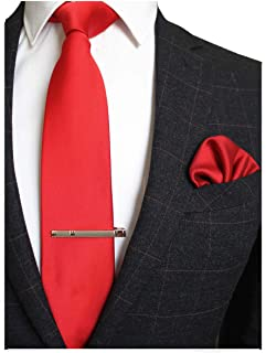 Solid Color Formal Necktie and Pocket Square Tie Clip Sets for Men