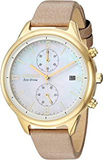 Women's Chandler Stainless Steel Quartz Watch with Leather-Synthetic Strap, Beige, 16 (Model: FB2002-08D)