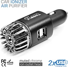 TwinkleBirds Car Air Purifier Ionizer - 12V Plug-in Car Air Freshener Ionic Deodorizer with 2.1 Amp Dual USB Charger - Smoke Smell, Pet and Food Odors, Allergens Eliminator for Car (Matte Black)