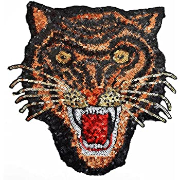 IR2 Large Iron On Black And Silver Sequin Tiger Patch