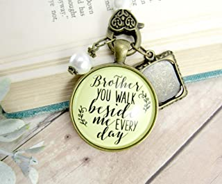 Bridal Bouquet Photo Charm Brother You Walk Beside Me Every Day Wedding Pendant Memorial Remembrance Photo Jewelry