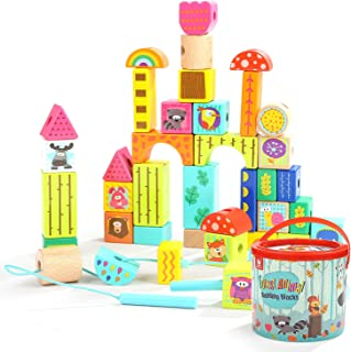 TOP BRIGHT Wooden Building Blocks Set, Gifts for 2 3 Year Old Boys Girls, Educational Toys, Colored Animal Blocks Lacing Beads, 38 Pieces