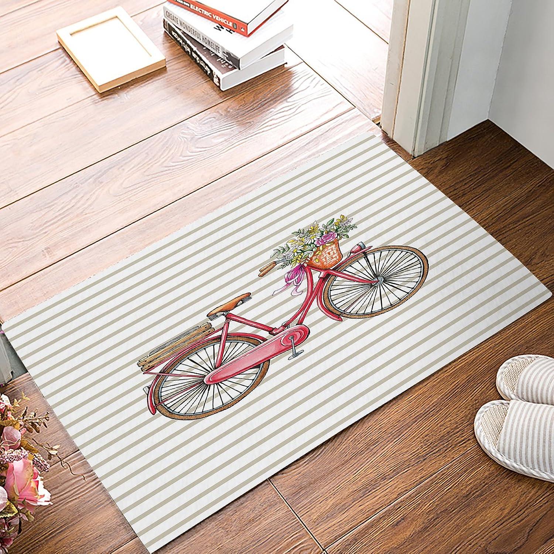 Family Decor Doormat for Entrance Way Indoor Bathroom Front Door Area Floor Mat Rugs Rubber Non Slip Waterproof Absorb Kitchen Runner Carpet, Hand Drawn Bike Stripes (32 x20 )