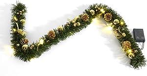 HEITMANN DECO 91640/lave-vaisselle Guirlande de Sapin Artificiel avec éclairage LED, Longueur 120cm, Plastique, Or décoré, 46,3x 14,3x 6,5cm