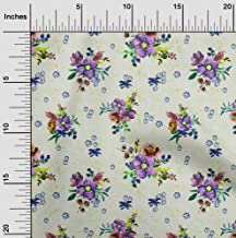 oneOone Georgette Viscose Purple Fabric Leaves & Watercolor Flower Floral Sewing Craft Projects Fabric Prints by Yard 42 I...