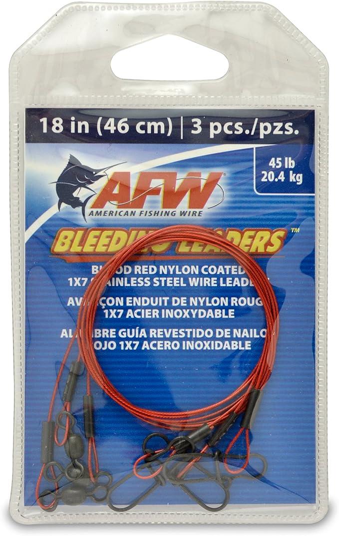 American Fishing Wire Bleeding Leader Blutrot Nylon beschichtet 1x7 Edelstahl Vorfachdraht