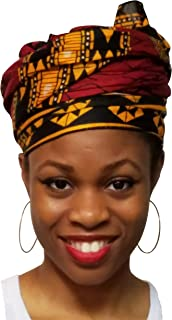Burgundy Red African Print Head Wrap