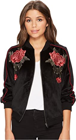 Eleni Velvet Bomber Jacket with Floral Patches