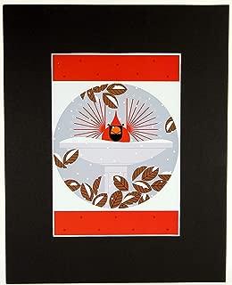 Charley Harper, B-r-r-r-r-rd Bath, Bird Bath, Birdbath Black Matted Litho Print
