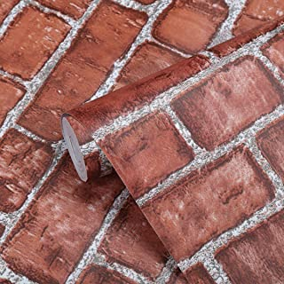 Coavas Red-Brick-Wallpaper 17.7x196.6 Inch Decorative Self Adhesive Fireplace Wallpaper Easy to Stick and Peel Faux Brick Printed Waterproof Stick Paper