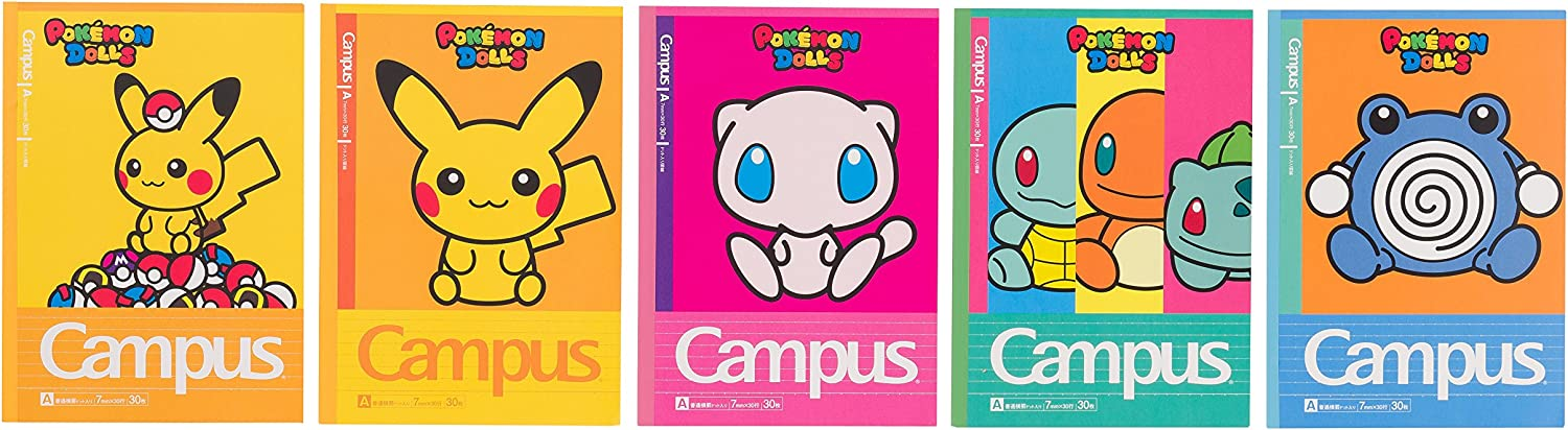 Pokemon Center Original Campus Notebook dotFilled A Ruled Five Books Pack Pokemon Dolls