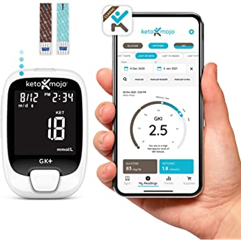 New KETO-MOJO GK+ Blood Glucose & β-Ketone Dual Monitoring System + APP, 20 Test Strips (10 Each), 1 Meter, 20 Lancets, 1 Lancing Device, and Control Solutions   Monitor Your Ketosis & Ketogenic Diet