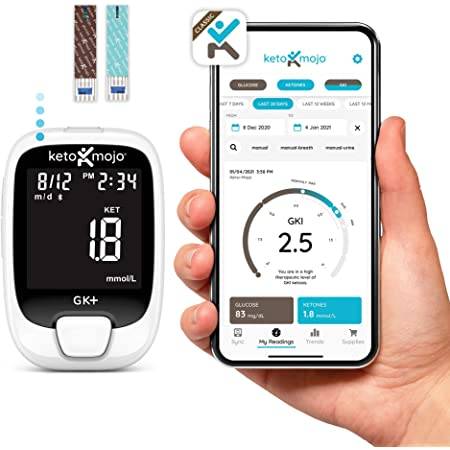 KETO-MOJO GK+ Glucose & Ketone Bluetooth Monitor + Free APP, 20 Test Strips (10 Each), Meter, 20 Lancets, Lancing Device, Control Solutions. Dual Blood Monitoring System for Ketosis & Ketogenic Diets