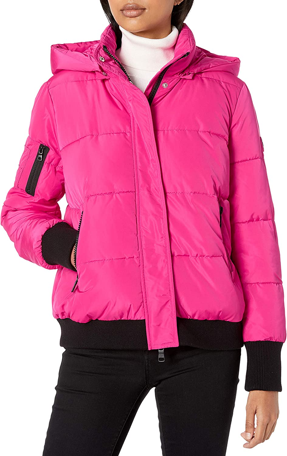 AX Armani Exchange Women's Outdoor Jacket with Hood and Arm Zipper Detail