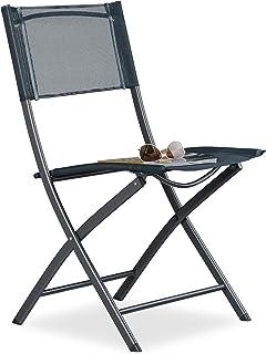 Relaxdays Silla Plegable para Camping, Jardín y Terraza, Metal y Plástico, Gris Antracita, 87 x 55 x 48,5 cm