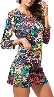 Henraly 4XL Size Vintage Ethnic Print Summer Mini T Women Bohemian Long Sleeve Party Boho Beach Dress