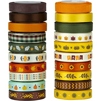 """VATIN 20 Rolls 110 Yards Autumn Harvest Festival Ribbons Printed Grosgrain Ribbons Polyester Satin Ribbon Sheer Organze Ribbon 3/8"""" Wide for Gift Wrapping DIY Crafts Fall Decor"""
