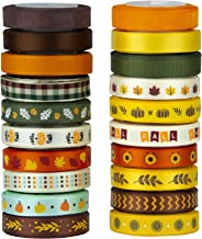 VATIN 20 Rolls 110 Yards Autumn Harvest Festival Ribbons Printed Grosgrain Ribbons Polyester Satin Ribbon Sheer Organze Ri...