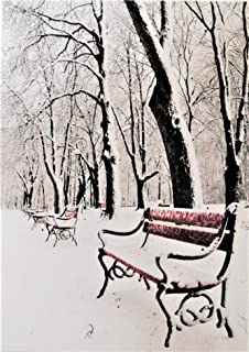 The White Azalea Tabletop Light Up Picture Red Park Bench with Snow Covered Trees, LED Lights, Canvas Print Stretched Over Wood Frame with Built in Stand and Timmer Function, 8.25