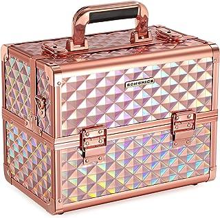 SONGMICS Sminkväska sminkväska, sminkförvaring, arrangör för resan, för frisörer och visalådor, låsbar låda med bärrem, ro...