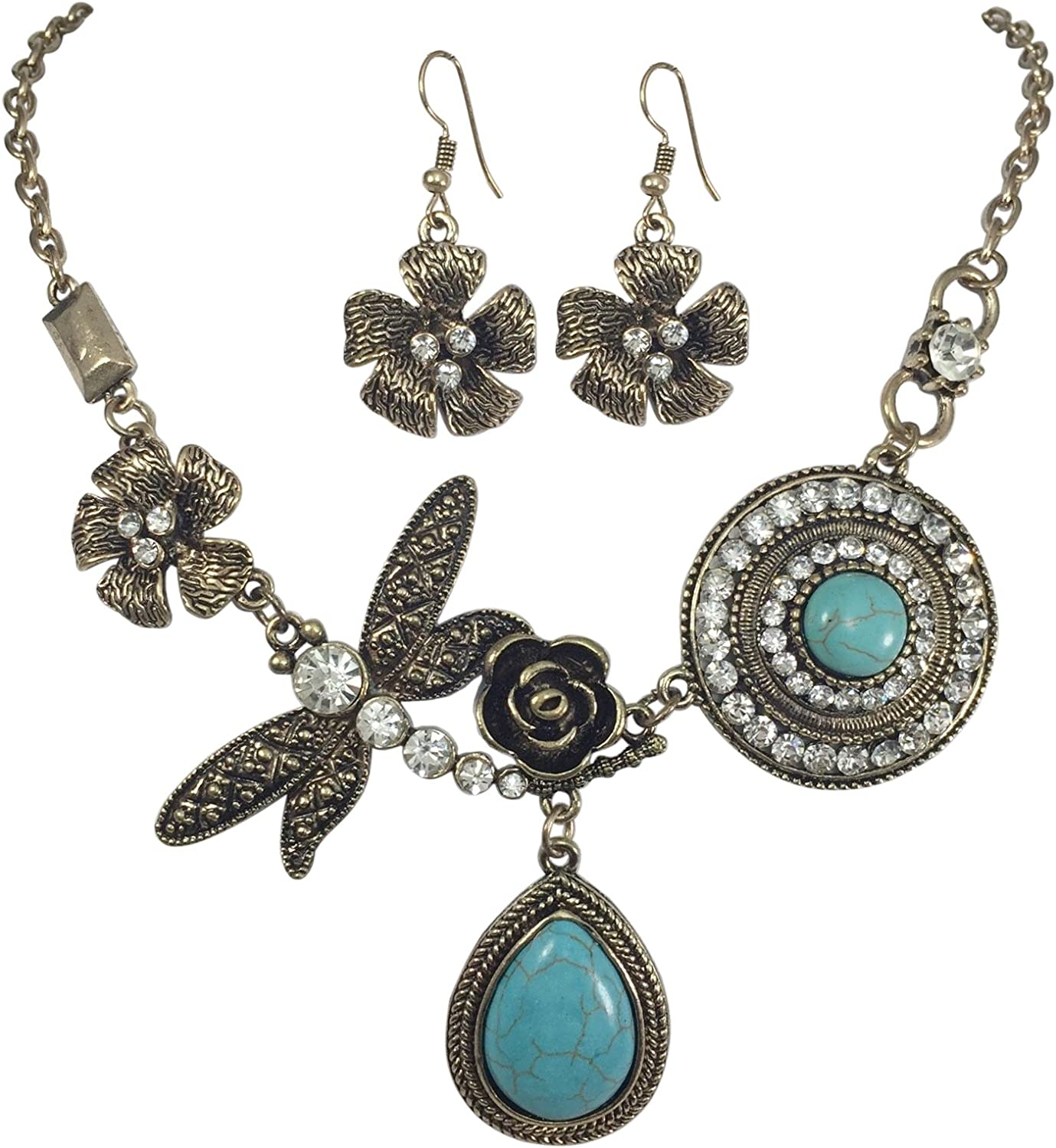 Gypsy Jewels Unique Simulated Turquoise with Dragonfly Vintage Look Necklace & Dangle Earring Set