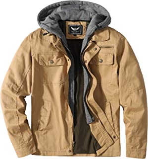 JYG Men's Casual Cotton Military Jacket with Removable Hood