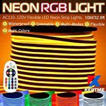 KERTME RGB LED Neon Light Strip, AC110-120V/Flexible/Waterproof/Dimmable/Multi-Colors/Multi-Modes Rope Light + 24 Keys Remote for Home/Garden/Building Decor (32.8ft/10m, RGB)