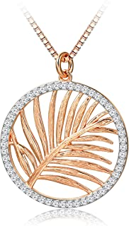 HOTIE Hollow-Out Round Necklace,18k Gold Plated Circle Pendant Necklace 925 Sterling Silver Jewelry for Women