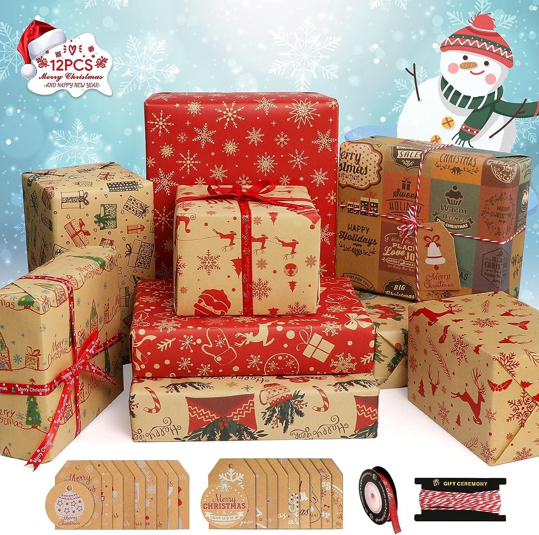 Papel de Regalo Navidad, Telgoner 12 hojas Papel Regalo Navideño,100x70cm, 70x50cm, Papel Envolver Regalos Navidad, Papel de Regalo Kraft Infantil con 20 Etiquetas 5m Cinta 5m Cordel