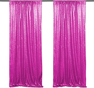 Sequin Backdrop Curtain 2 Pieces 2x8ft Fuchsia Glitter Background Backdrop Drapes Birthday Party Fabric Backdrop
