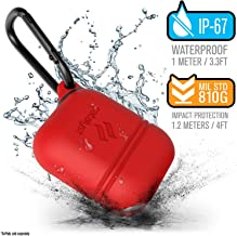 Waterproof Case for Apple Airpods 2 & 1, Shockproof and Drop Proof Protective Cover Soft Skin, Carabiner, Silicone, Compatible Wireless Charging - Apple Accessories Airpods 2 & 1, Flame Red