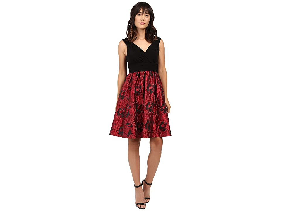 Adrianna Papell Portrait Bodice Fit and Flare (Red/Black) Women