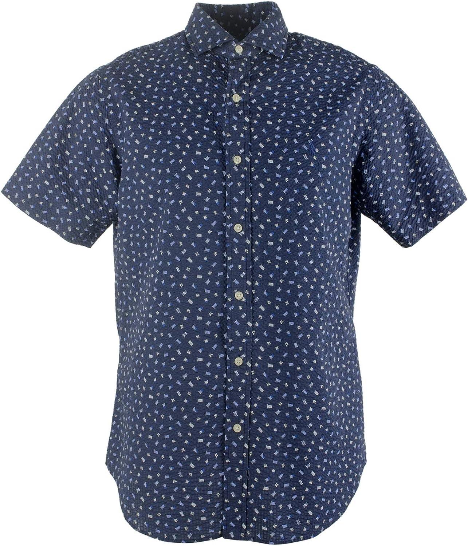 Polo Ralph Lauren Men's Big and Tall Seersucker RL Flag-Print Shirt