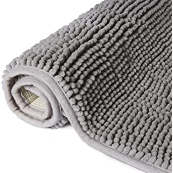 "Lifewit 32""x20"" Bath Mat Non Slip Microfiber Shaggy Chenille Bath Rugs Bathroom Shower Mats Rug, Grey"