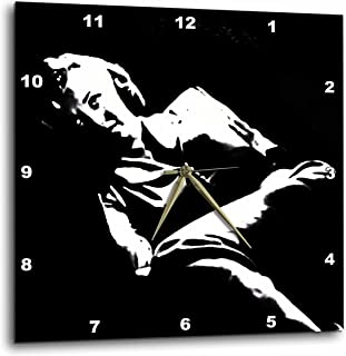 3dRose DPP_46990_1 Marilyn Monroe Marilyn, Monroe, Woman, Silhouette, Portrait, Black and White, Actress Wall Clock, 10 by 10-Inch