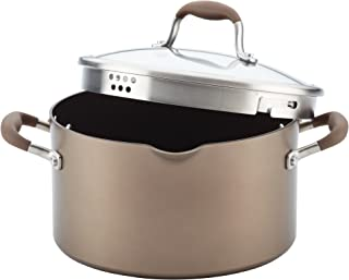 Anolon 84167 Advanced Hard Anodized Nonstick Stock Pot/Stockpot with Straining and Lid, 6 Quart, Bronze Brown