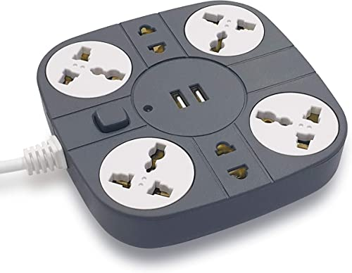 ADDMAX Extension Cord with USB Port 10A 220V 50 60Hz 6 socket Outlet with 2 USB Port Fire flame proof USB Charging Port 1 8 Meter Cord Multi Plug Extension Board for Home Office Grey