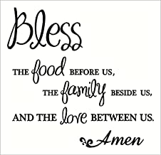 Wall Decor Plus More WDPM335 Bless The Food Family Love Amen Wall Vinyl Sticker Lettering Decal, 18Wx18H, Black