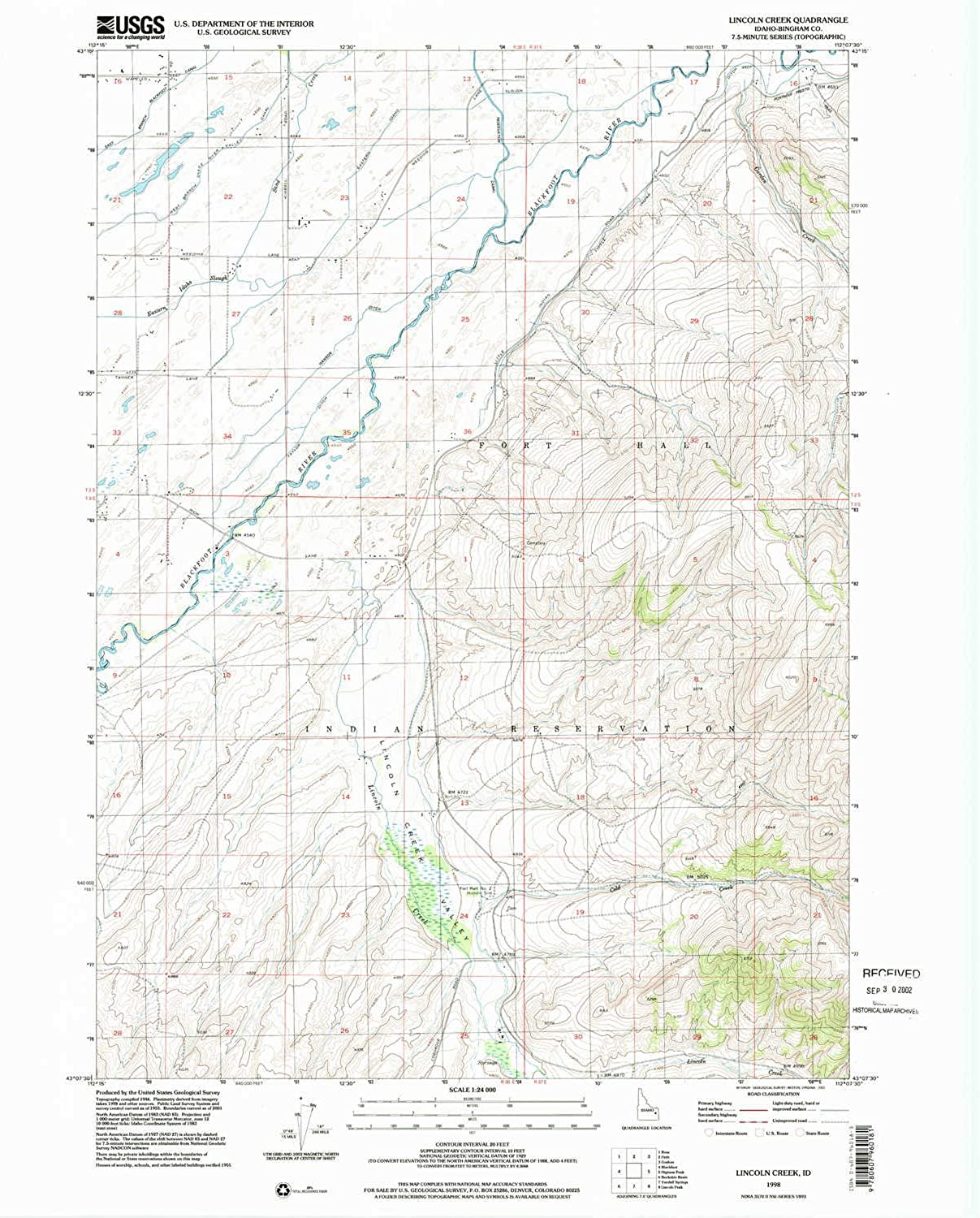 Lincoln Creek ID topo map, 1 24000 Scale, 7.5 X 7.5 Minute, Historical, 1998, Updated 2002, 27 x 22 in