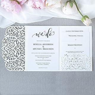 50 CARTE CONFEZIONE Apribile taglio laser inviti matrimonio fai da te partecipazioni matrimonio bianca carta con busta