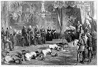 Victoria Of England N(1819-1901) Queen Of England 1837-1901 Queen Victoria Receiving The Siamese Ambassadors And Their Royal Gifts At Windsor Castle 1857 Wood Engraving From A Contemporary English New